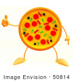 #50814 Royalty-Free (Rf) Illustration Of A 3d Pizza Mascot Giving The Thumbs Up - Version 3