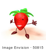 #50815 Royalty-Free (Rf) Illustration Of A 3d Strawberry Character Holding His Arms Open - Version 2