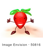 #50816 Royalty-Free (Rf) Illustration Of A 3d Strawberry Character Holding His Arms Open - Version 1