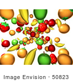 #50823 Royalty-Free (Rf) Illustration Of A Background Of Fruits Raining Down - Version 2