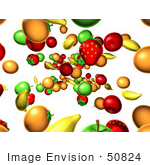 #50824 Royalty-Free (Rf) Illustration Of A Background Of Fruits Raining Down - Version 1