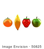 #50825 Royalty-Free (Rf) Illustration Of An Orange Banana Strawberry And Apple In A Line
