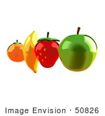 #50826 Royalty-Free (Rf) Illustration Of An Orange Banana Strawberry And Apple In A Row