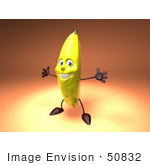 #50832 Royalty-Free (Rf) Illustration Of A 3d Banana Mascot Holding His Arms Open - Version 3