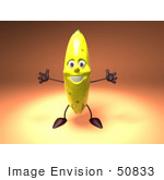 #50833 Royalty-Free (Rf) Illustration Of A 3d Banana Mascot Holding His Arms Open - Version 2