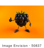 #50837 Royalty-Free (Rf) Illustration Of A 3d Blackberry Character Giving The Thumbs Up - Version 2