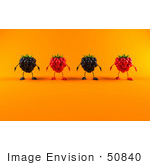 #50840 Royalty-Free (Rf) Illustration Of A Row Of 3d Raspberry And Blackberry Characters - Version 2