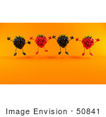 #50841 Royalty-Free (Rf) Illustration Of A Group Of Jumping 3d Raspberry And Blackberry Characters - Version 2