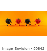 #50842 Royalty-Free (Rf) Illustration Of A Group Of Walking 3d Raspberry And Blackberry Characters - Version 2