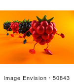 #50843 Royalty-Free (Rf) Illustration Of 3d Blackberry And Raspberry Characters Walking Forward - Version 2