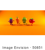 #50851 Royalty-Free (Rf) Illustration Of 3d Tomato Bell Pepper Carrot And Eggplant Characters Marching Right - Version 2