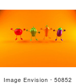 #50852 Royalty-Free (Rf) Illustration Of 3d Tomato Bell Pepper Carrot And Eggplant Characters Jumping - Version 3