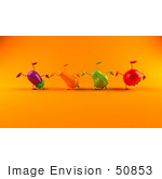 #50853 Royalty-Free (Rf) Illustration Of A Line Of 3d Eggplant Carrot Bell Pepper And Tomato Characters Doing Cartwheels - Version 3
