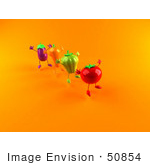 #50854 Royalty-Free (Rf) Illustration Of 3d Tomato Bell Pepper Carrot And Eggplant Characters Jumping - Version 4