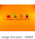 #50855 Royalty-Free (Rf) Illustration Of 3d Tomato Bell Pepper Carrot And Eggplant Characters Facing Front - Version 2