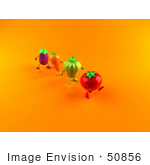 #50856 Royalty-Free (Rf) Illustration Of 3d Tomato Bell Pepper Carrot And Eggplant Characters Marching - Version 2
