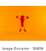 #50858 Royalty-Free (Rf) Illustration Of A 3d Red Chili Pepper Character Jumping - Version 2