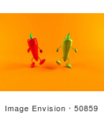#50859 Royalty-Free (Rf) Illustration Of 3d Green And Red Chili Pepper Characters Walking Forward - Version 2