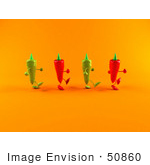 #50860 Royalty-Free (Rf) Illustration Of 3d Green And Red Chili Pepper Characters Walking Right - Version 2