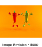 #50861 Royalty-Free (Rf) Illustration Of 3d Green And Red Chili Pepper Characters Jumping - Version 1