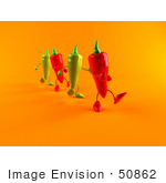 #50862 Royalty-Free (Rf) Illustration Of 3d Green And Red Chili Pepper Characters Marching Forward - Version 2
