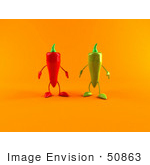 #50863 Royalty-Free (Rf) Illustration Of 3d Green And Red Chili Pepper Characters Facing Front - Version 2