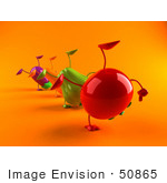 #50865 Royalty-Free (Rf) Illustration Of A Line Of 3d Eggplant Carrot Bell Pepper And Tomato Characters Doing Cartwheels - Version 4