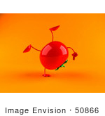 #50866 Royalty-Free (Rf) Illustration Of A 3d Tomato Character Doing A Cartwheel - Version 2