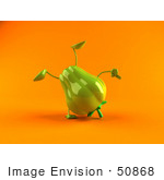 #50868 Royalty-Free (Rf) Illustration Of A 3d Green Bell Pepper Character Doing A Cartwheel - Version 2