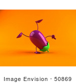 #50869 Royalty-Free (Rf) Illustration Of A 3d Eggplant Character Doing A Cartwheel - Version 2