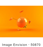 #50870 Royalty-Free (Rf) Illustration Of A 3d Naval Orange Character Doing A Cartwheel - Version 2