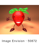 #50872 Royalty-Free (Rf) Illustration Of A 3d Strawberry Character Holding His Arms Open - Version 3