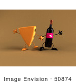 #50874 Royalty-Free (Rf) Illustration Of 3d Cheese Wedge And Wine Bottle Characters Holding Hands - Version 2