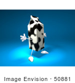 #50881 Royalty-Free (Rf) Illustration Of A 3d Cow Patterned Milk Carton Character Holding Its Arms Out - Version 2