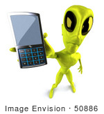 #50886 Royalty-Free (Rf) Illustration Of A 3d Green Alien Mascot Holding Out A Cell Phone