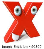 #50895 Royalty-Free (Rf) Illustration Of A 3d Red Character Letter X