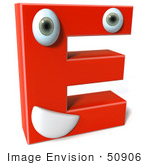#50906 Royalty-Free (Rf) Illustration Of A 3d Red Character Letter E