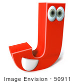 #50911 Royalty-Free (Rf) Illustration Of A 3d Red Character Letter J