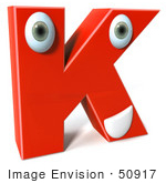 #50917 Royalty-Free (Rf) Illustration Of A 3d Red Character Letter K