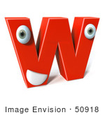 #50918 Royalty-Free (Rf) Illustration Of A 3d Red Character Letter W