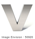 #50920 Royalty-Free (Rf) Illustration Of A 3d Chrome Alphabet Letter V