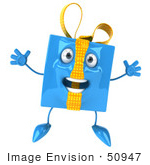 #50947 Royalty-Free (Rf) Illustration Of A 3d Blue Gift Mascot Jumping