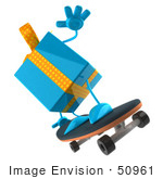 #50961 Royalty-Free (Rf) Illustration Of A 3d Blue Present Character Skateboarding - Version 2