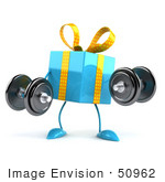 #50962 Royalty-Free (Rf) Illustration Of A 3d Blue Present Character Lifting Weights