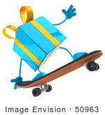 #50963 Royalty-Free (Rf) Illustration Of A 3d Blue Present Character Skateboarding - Pose 1