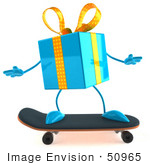 #50965 Royalty-Free (Rf) Illustration Of A 3d Blue Present Character Skateboarding - Version 1