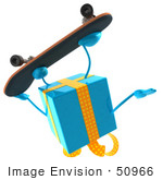#50966 Royalty-Free (Rf) Illustration Of A 3d Blue Present Character Skateboarding - Pose 2