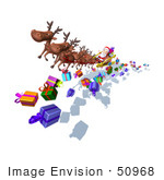 #50968 Royalty-Free (Rf) Illustration Of A 3d Santa Claus And Reindeer Flying Over Gifts - Version 5