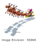 #50969 Royalty-Free (Rf) Illustration Of A 3d Santa Claus In His Sled With The Flying Reindeer - Version 1