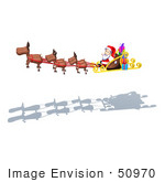 #50970 Royalty-Free (Rf) Illustration Of A 3d Santa Claus In His Sled With The Flying Reindeer - Version 2